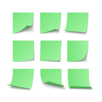 Conjunto de pegatinas pegadas verdes con espacio para texto o mensaje. ilustración de vector aislado sobre fondo blanco.