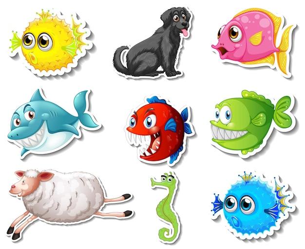 Conjunto de pegatinas con personajes de dibujos animados de perros y animales marinos