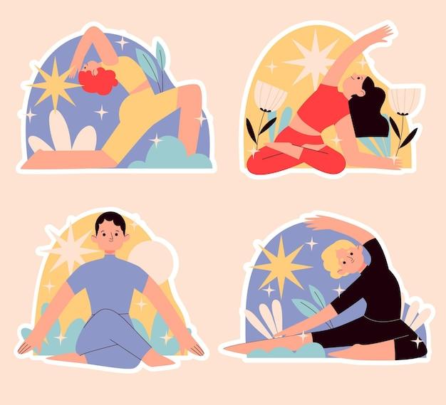 Conjunto de pegatinas de personas haciendo yoga