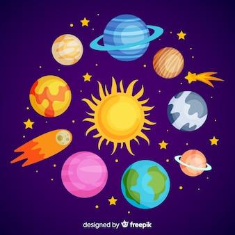 Conjunto de pegatinas de planetas coloridos dibujados a mano