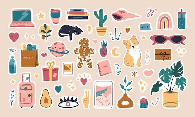 Conjunto de pegatinas planificador semanal o lácteo de moda, ilustraciones para organizadores modernos y diarios.