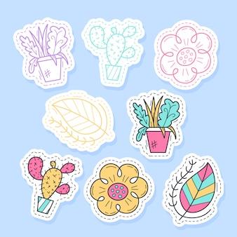 Conjunto de pegatinas de plantas de flora colección manuscrita en estilo de dibujos animados.