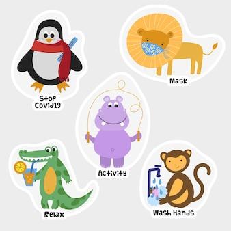 Conjunto de pegatinas de prevención de animales coronavirus.