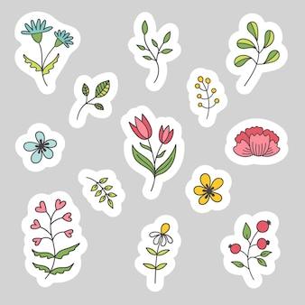 Conjunto de pegatinas de primavera de plantas y flores. pegatinas de papel pascua, vacaciones, cumpleaños.