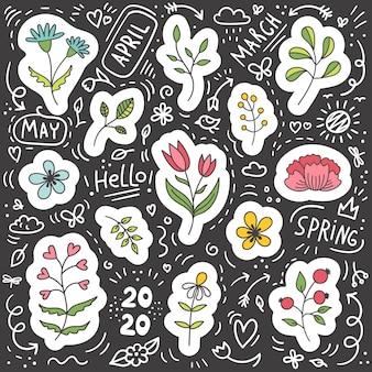 Conjunto de pegatinas de primavera de plantas y flores.