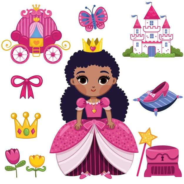 Conjunto de pegatinas de princesa africana ilustración vectorial