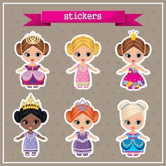 Conjunto de pegatinas con princesas