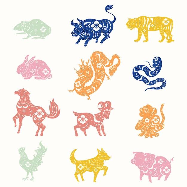 Conjunto de pegatinas de signo del zodiaco animal colorido de animales de año nuevo chino