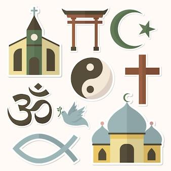 Conjunto de pegatinas de símbolos religiosos mixtos
