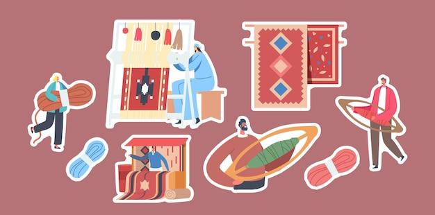 Conjunto de pegatinas tema de tejido de alfombras. mujer trabaja en telar manual, pequeños personajes con madeja de hilo y lanzaderas de tejido, puesto con alfombras para la venta, arte vintage. ilustración de vector de gente de dibujos animados