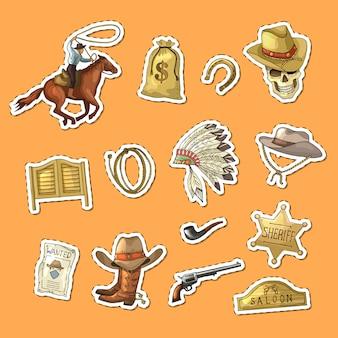 Conjunto de pegatinas de vaquero del salvaje oeste dibujado a mano