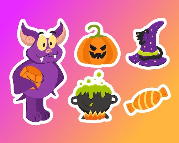 Un conjunto de pegatinas de vector para halloween con la imagen de un murciélago amable y un sombrero de bruja con un gato negro