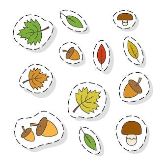 Conjunto de pegatinas de vector plano de elementos de bosque de otoño