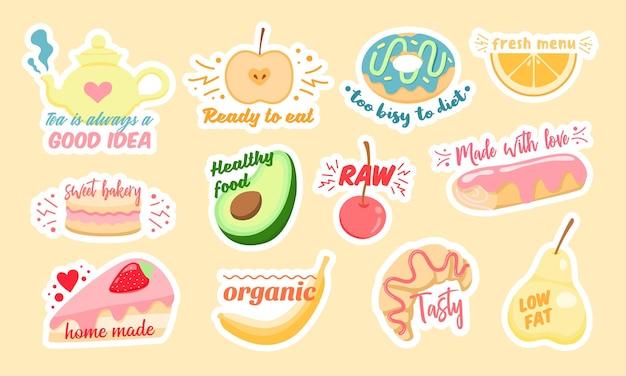 Conjunto de pegatinas de vectores multicolores de varias frutas saludables y deliciosos pasteles con elegantes inscripciones diseñadas como ilustraciones de concepto de dieta