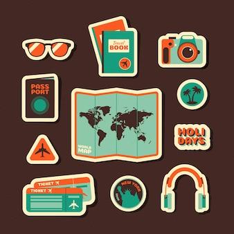 Conjunto de pegatinas de viaje estilo años 70