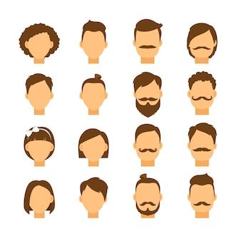 Conjunto de peinado de mujer y peinado de hombre hipster