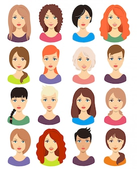 Conjunto de peinado de niña diferente para cabello medio y largo. cabello rojo, rubio, moreno y negro.