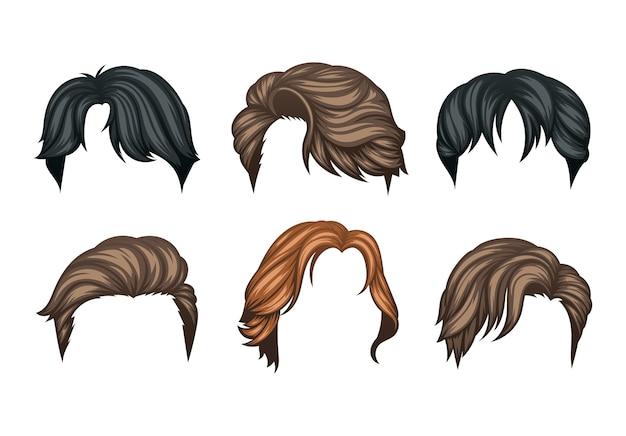 Conjunto de peinados de hombre de variedad Vector Premium