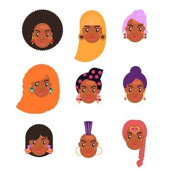 Conjunto de peinados de mujer de piel negra