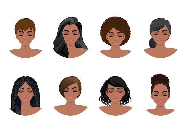 Conjunto de peinados de mujeres afroamericanas