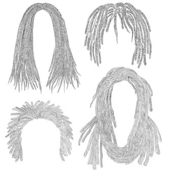 Conjunto de pelos africanos. boceto de dibujo a lápiz negro. trenzas de rastas