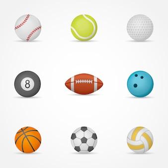 Conjunto de pelotas de deporte aislado en blanco