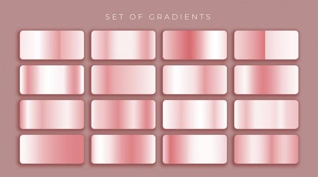 Conjunto de pendientes en oro rosa o rosa metalizado.