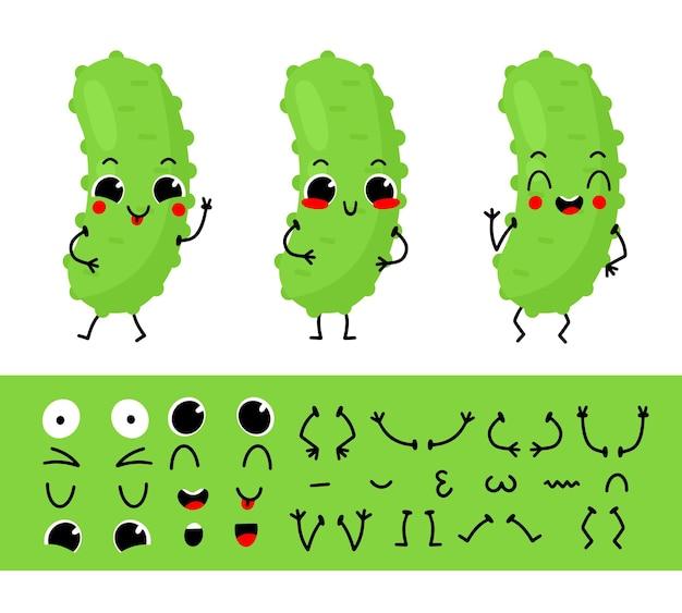 Conjunto de pepino para crear un personaje de dibujos animados divertido ilustración de constructor de personajes de pepino