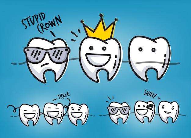 Conjunto de pequeñas escenas de personajes de dientes divertidos, dibujo sobre fondo azul claro.