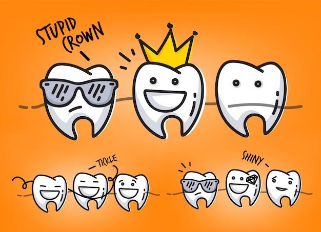 Conjunto de pequeñas escenas de personajes dientes graciosos, dibujo sobre fondo naranja.
