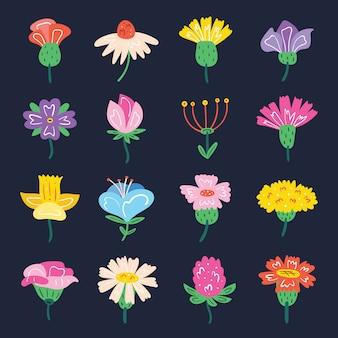 Conjunto de pequeñas flores silvestres lindas. elementos de diseño de flora. ilustración colorida plana