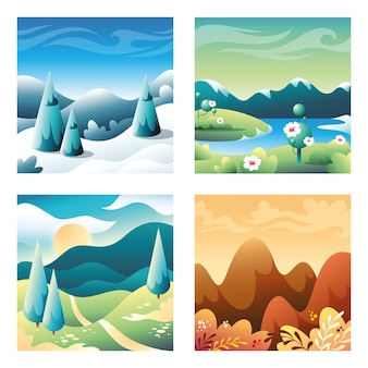 Conjunto de pequeñas ilustraciones cuadradas en estilo material plano. elementos de diseño ui / ux, estaciones del año: invierno, primavera, verano, otoño.