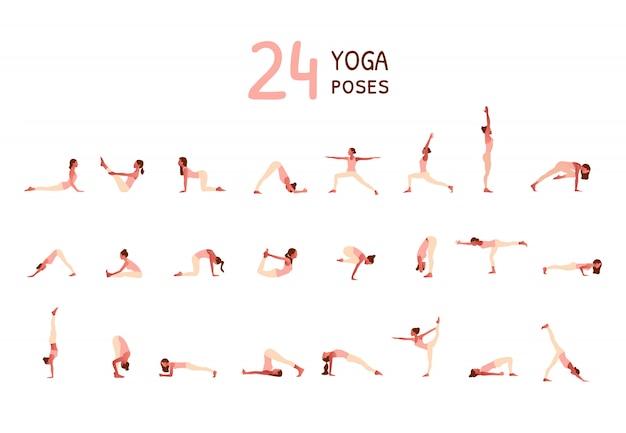 Conjunto de pequeñas mujeres realizando posturas de yoga. mujeres practicando asanas
