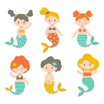 Conjunto de pequeñas sirenas aisladas sobre fondo blanco.ilustración de vector para niños en estilo plano