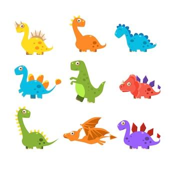 Conjunto pequeño dinosaurio colorido. colección