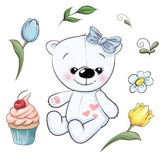 Conjunto de pequeño oso de peluche blanco y flores. dibujo a mano. ilustración vectorial
