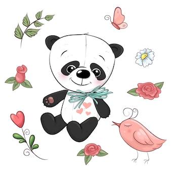 Conjunto de pequeño panda y flores. dibujo a mano. ilustración vectorial