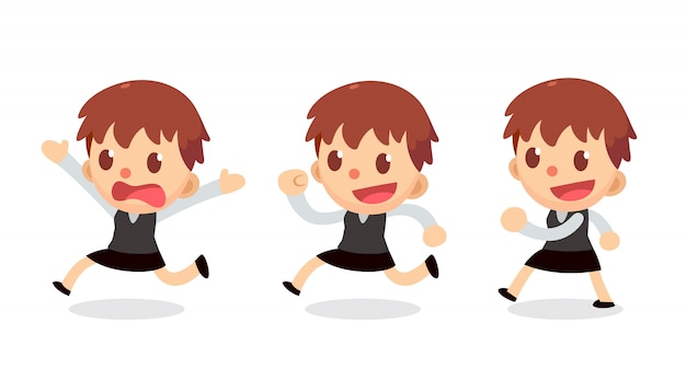 Conjunto de pequeño personaje de empresaria en acciones. camina y corre.