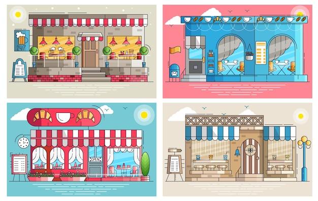 Conjunto de pequeños cafés lindos y exteriores de edificios de cafés