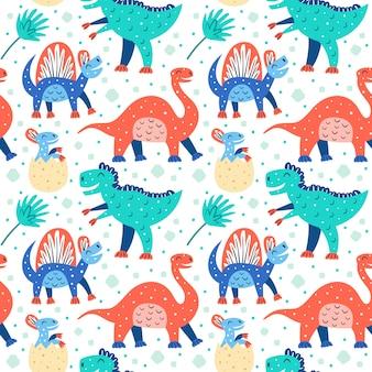 Conjunto de pequeños dinosaurios lindos. triceratops, t-rex, diplodocus, pteranodon, estegosaurio. patrón de animales prehistóricos