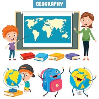 Conjunto de pequeños estudiantes que estudian geografía
