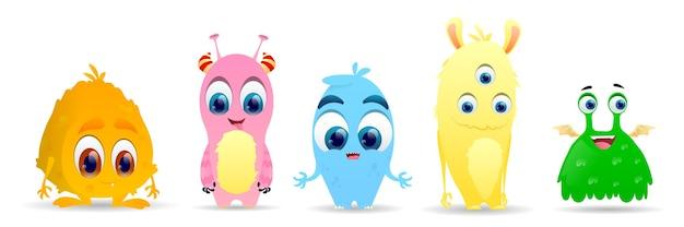 Conjunto de pequeños monstruos lindos. conjunto de caracteres alienígenas lindo mullido