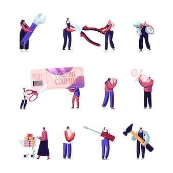 Conjunto de pequeños personajes masculinos y femeninos con enormes herramientas e instrumentos de construcción, cupón de descuento, anillo y signo de porcentaje.