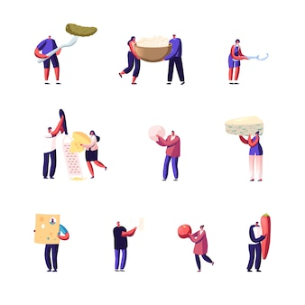 Conjunto de pequeños personajes masculinos y femeninos con enormes productos alimenticios