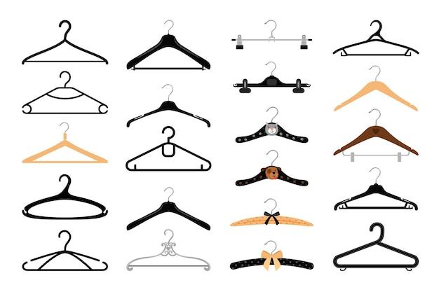 Conjunto de perchas de ropa.