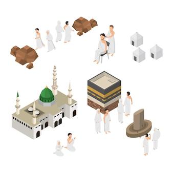Conjunto de peregrinación ilustración hajj en la meca isométrica