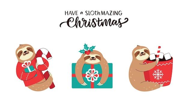El conjunto de pereza y frase de letras navidad los animales con muérdago cacao presentan dulces