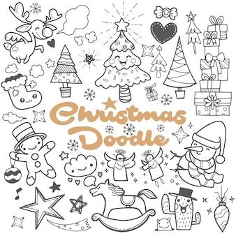 Conjunto perfecto de elemento de diseño de navidad en estilo doodle