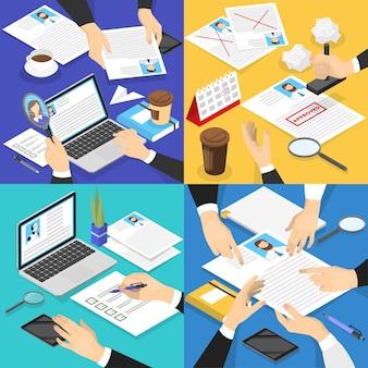 Conjunto de perfiles cv de mano. gerente de recursos humanos haciendo examen de currículum.