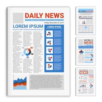 Conjunto de periódicos maqueta realista